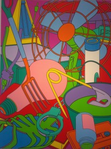 kleur-tegen-kleurcontrast, geometrische vormen, contourlijnen, overallcompositie